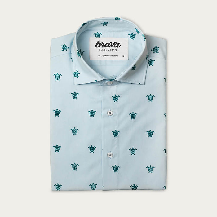 Blue Turtle with Love Printed Shirt   Bombinate