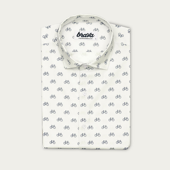 White Fixed Gear Rider Printed Shirt | Bombinate