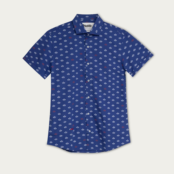 Blue Printed Shirt Paper Boat | Bombinate