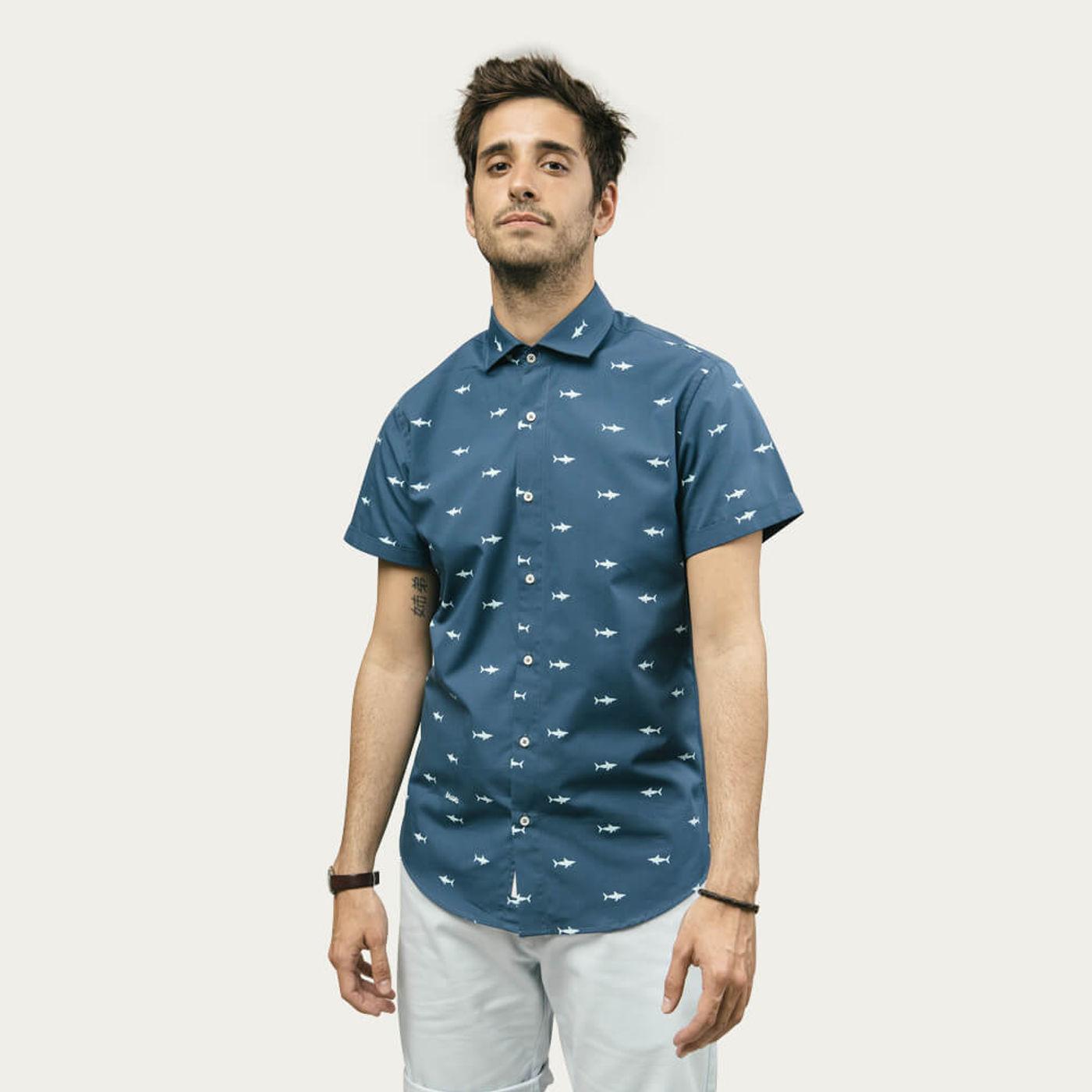 Blue Sharks Printed Shirt   Bombinate