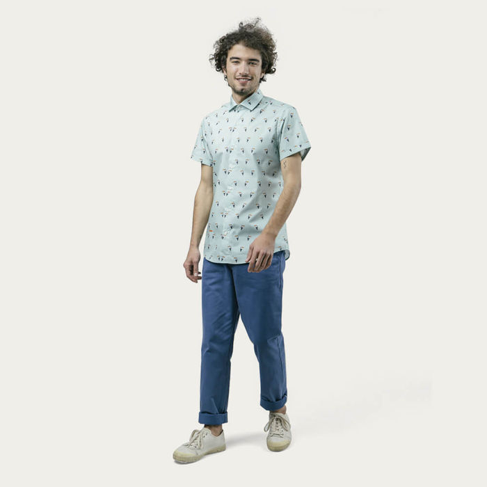 Blue Tropical Tucan Printed Shirt | Bombinate