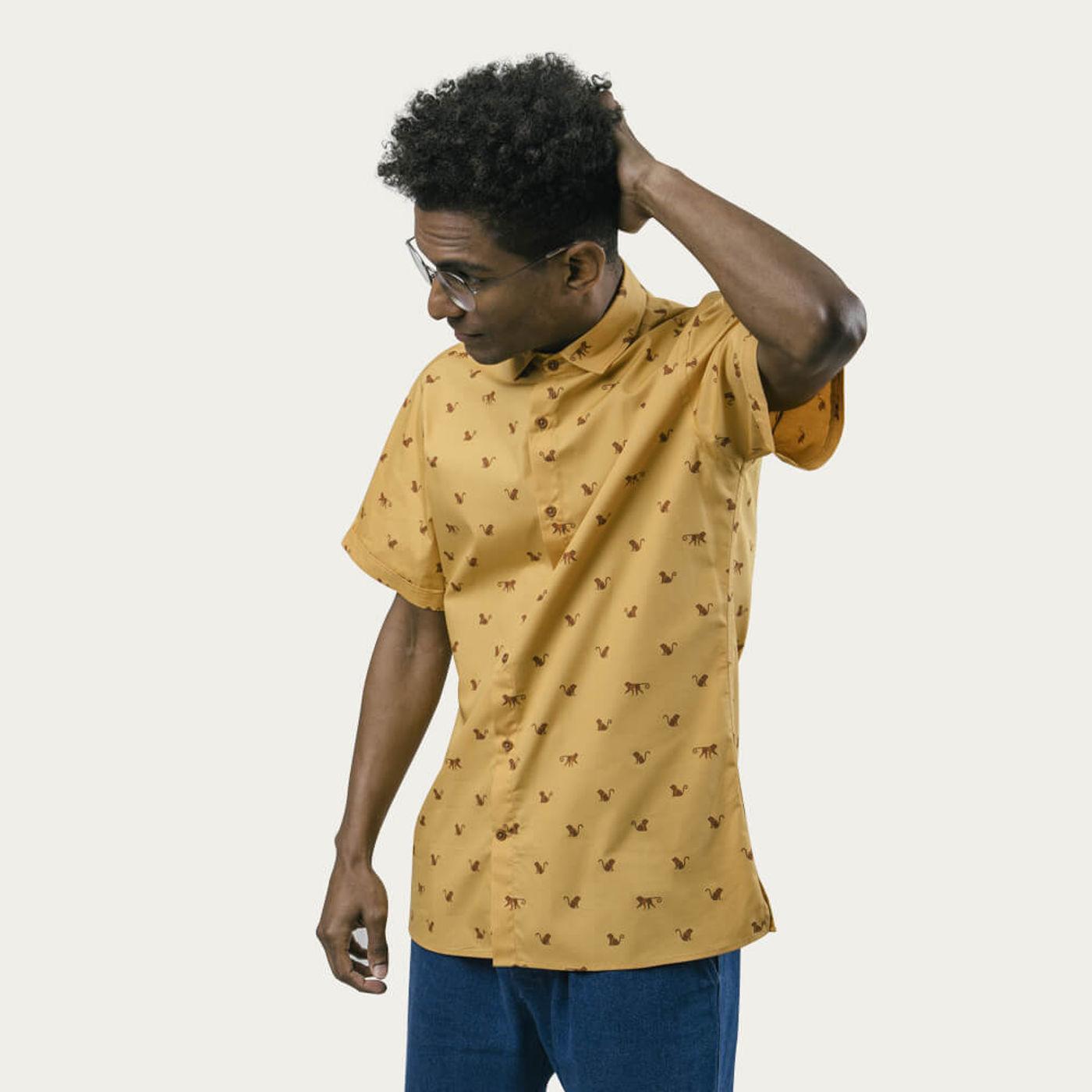 Orange Monkey Monkey Printed Shirt   Bombinate