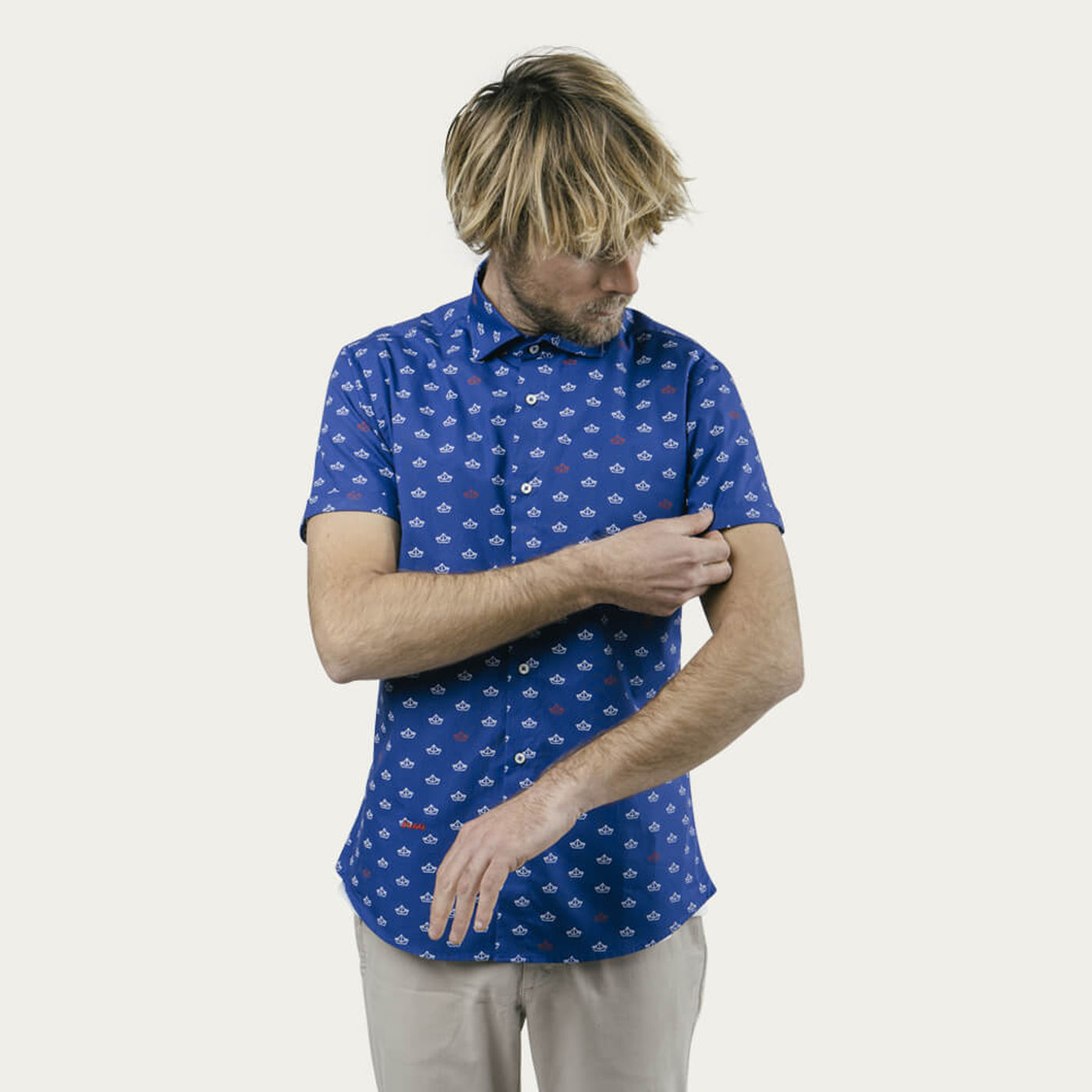 Blue Printed Shirt Paper Boat | Bombinate