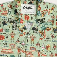 Green Lucha Libre Aloha Shirt | Bombinate