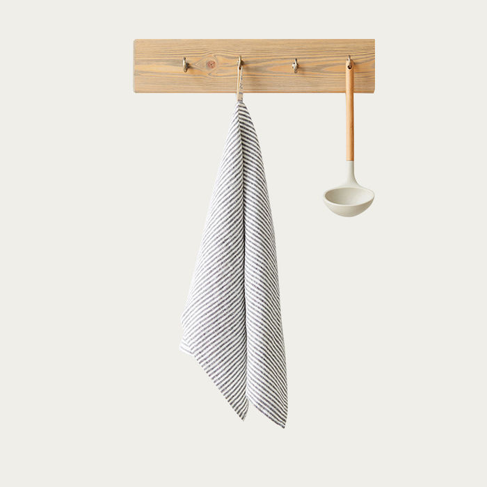 Thin Black Stripes Washed Linen Tea Towel | Bombinate