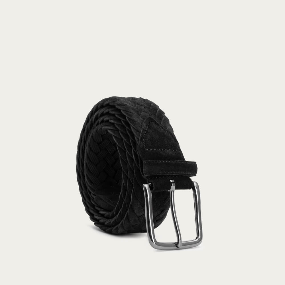 Black Ernesto Braided Suede Belt | Bombinate