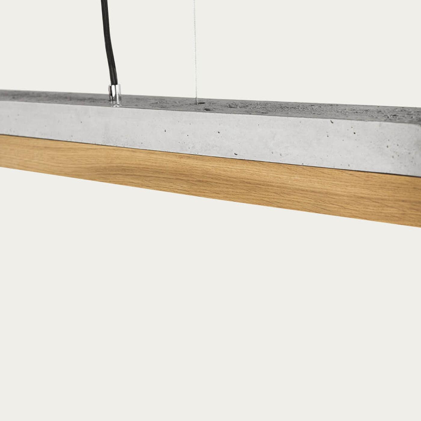Graphite Grey Concrete & Oak Wood Pendant Light | Bombinate