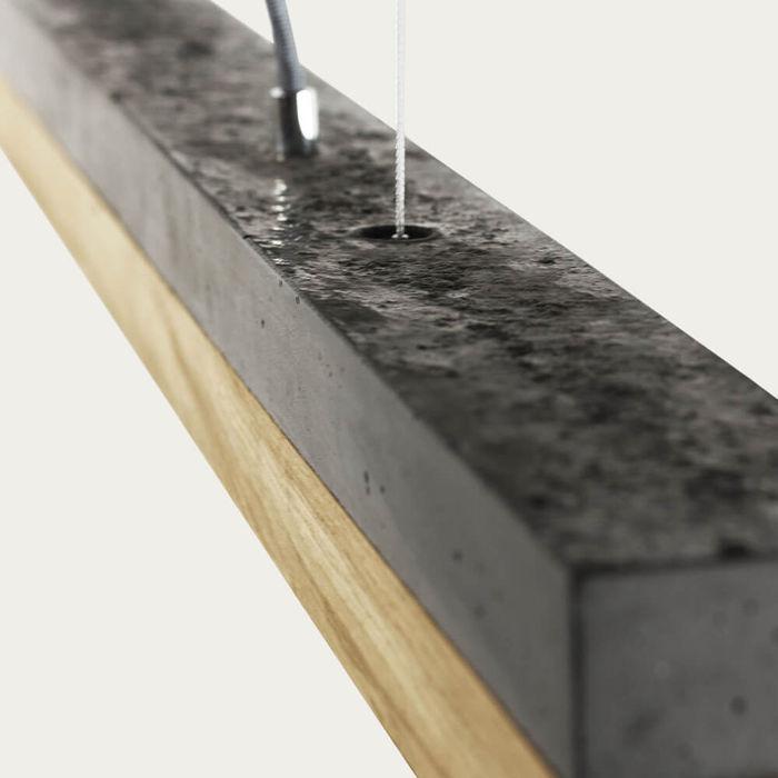 Dark Grey Concrete & Oak Wood Pendant Light | Bombinate
