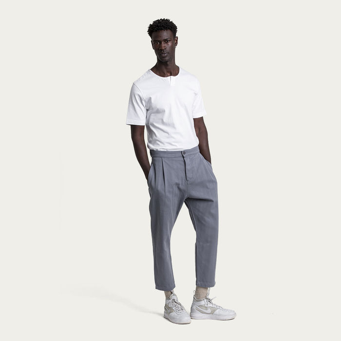 Folkstone Grey Cotton Weekend Trouser | Bombinate