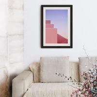 Purple Nights Art Print Black Frame   Bombinate
