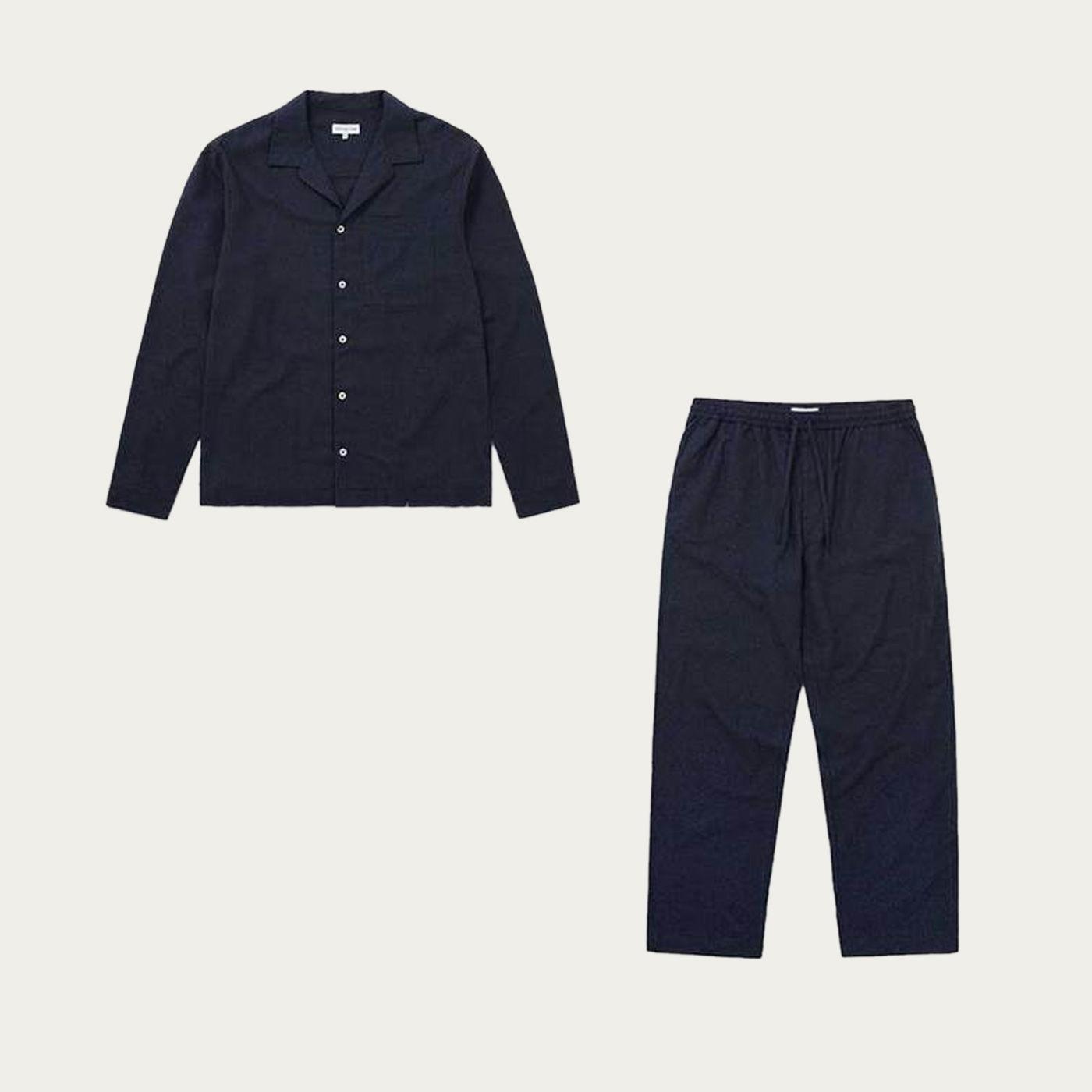 Navy Flannel Pyjama Set | Bombinate