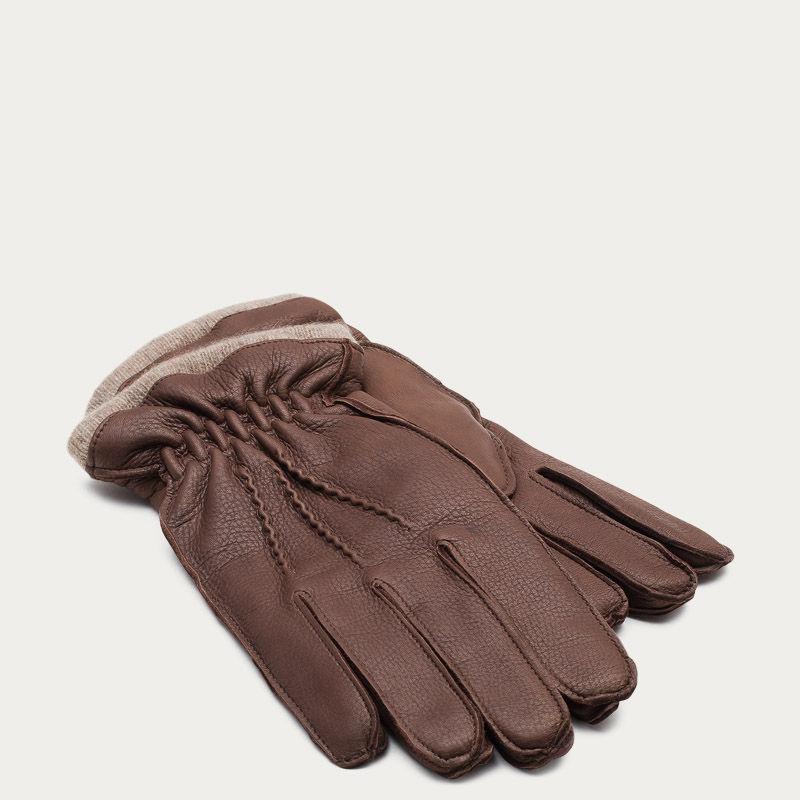 Brown Carlo Handmade Deer Leather Gloves  | Bombinate