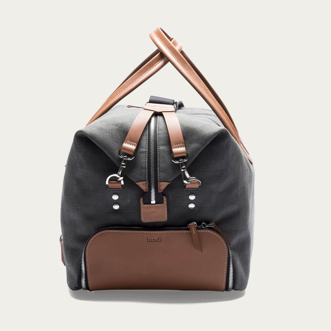 Gray & Cognac Traveler Bag Remington   Bombinate