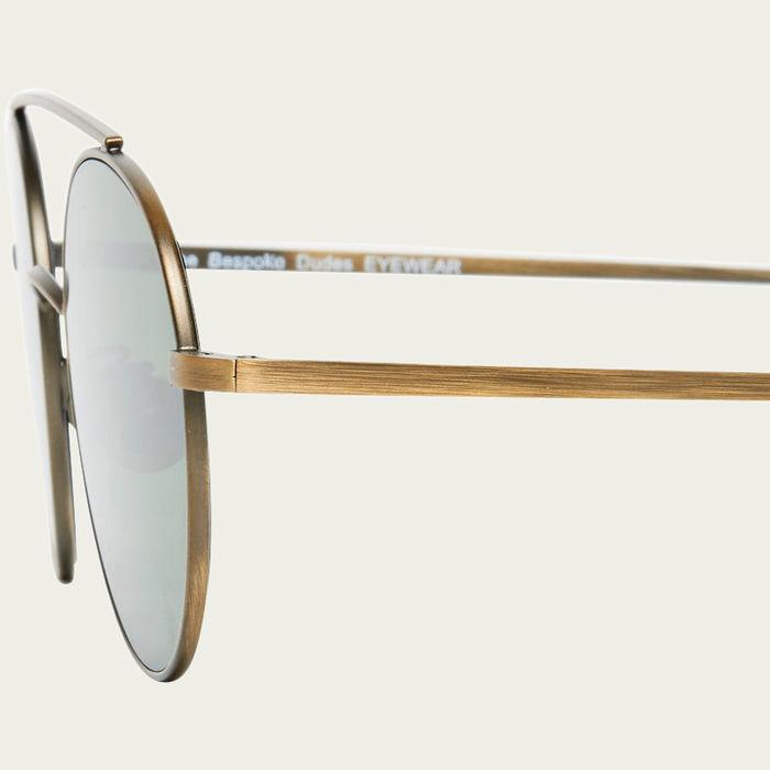 Drill Brass Frame With Bottle Green Lenses  Sunglasses | Bombinate