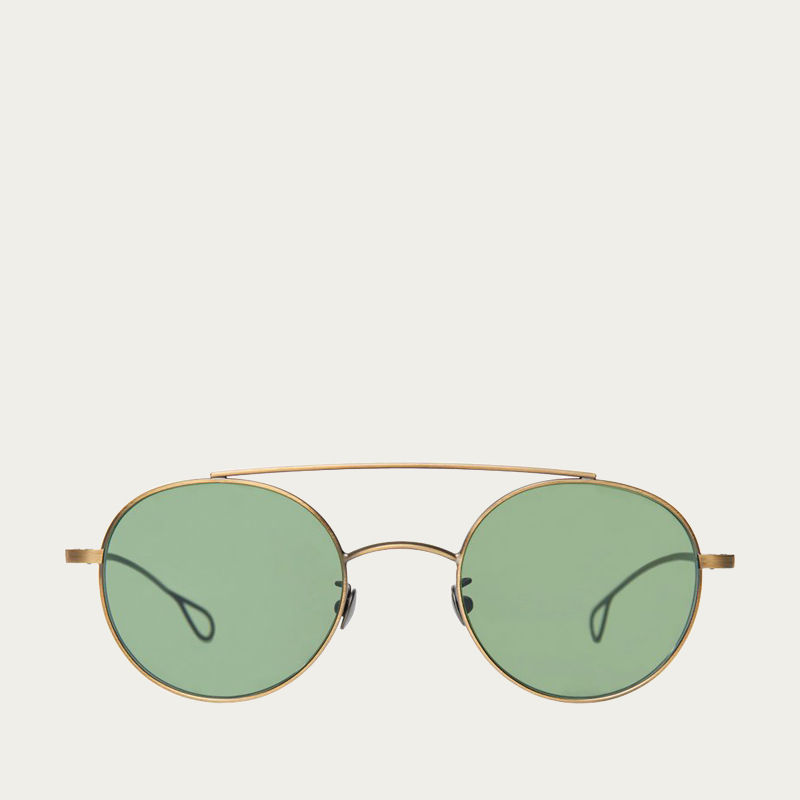 39ff3a07ced Drill Brass Frame With Bottle Green Lenses Sunglasses