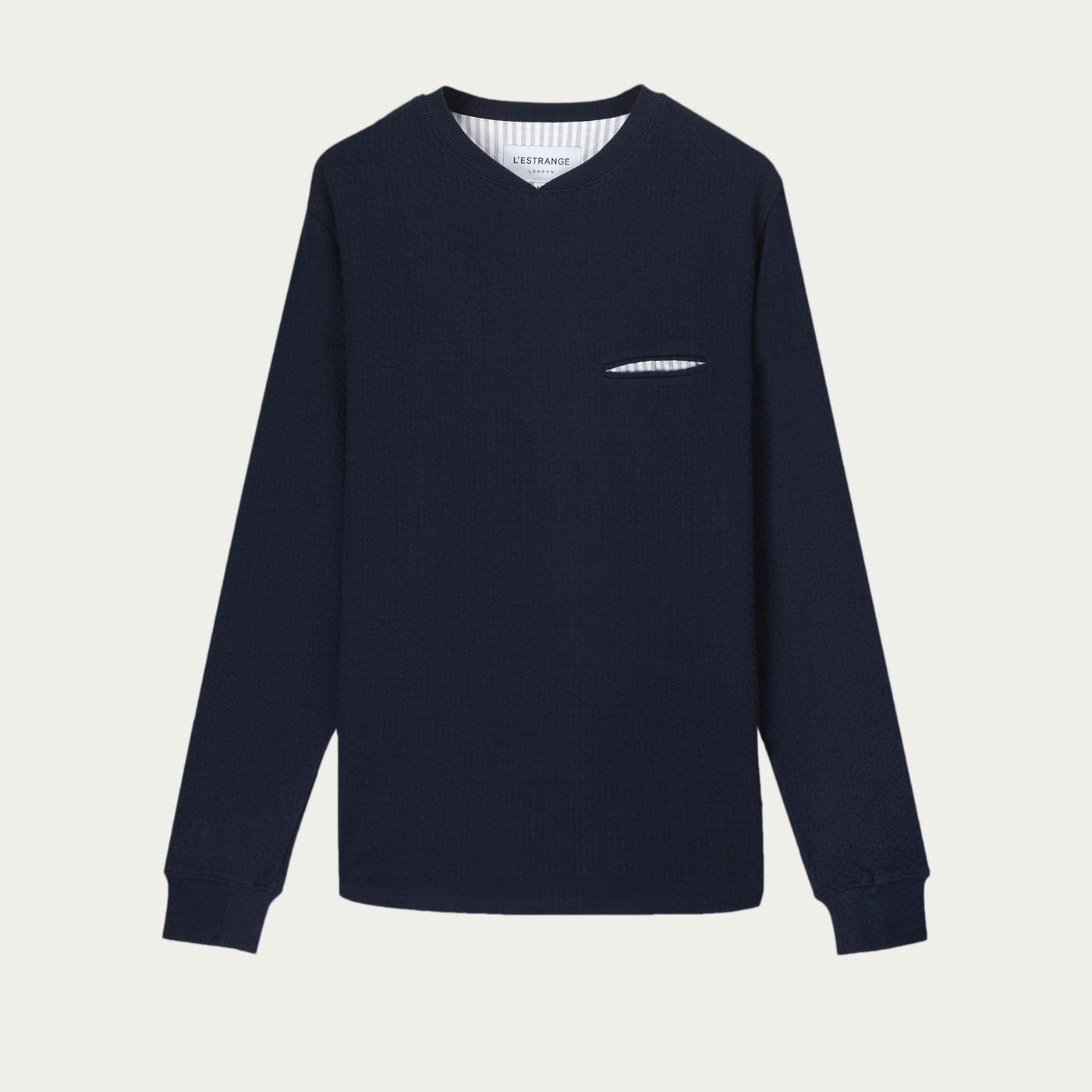 Navy Cross Collar Sweatshirt   | Bombinate