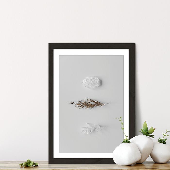 Stones & Branches II Art Print Black Frame | Bombinate