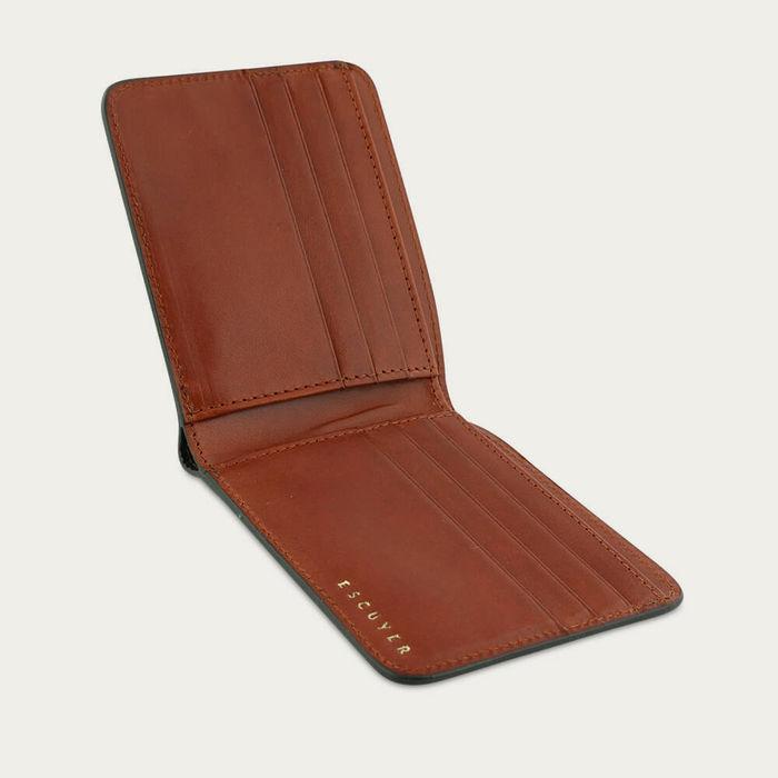Green / Cognac Leather Billfold Wallet | Bombinate