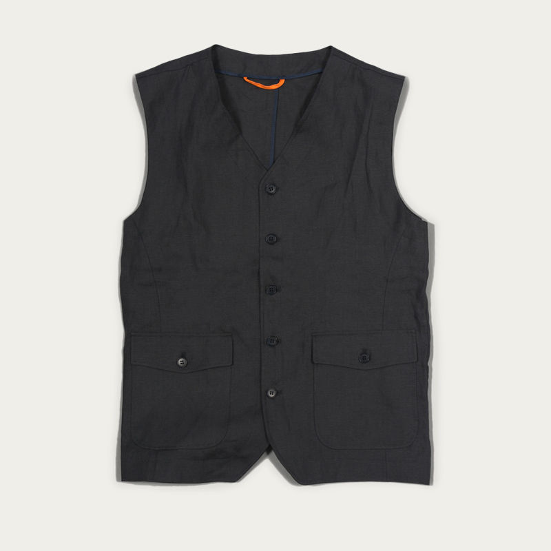 Grey Linen Bellson Gilet  | Bombinate