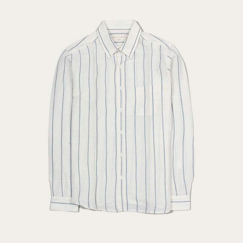 White Stripes Mod Button Down L/S Shirt | Bombinate