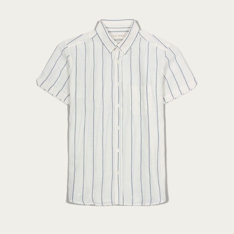 White Stripe Linen Mod Button Down S/S Shirt  | Bombinate