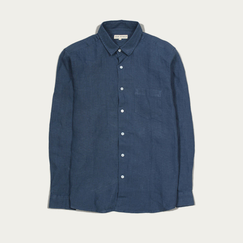 Ensign Blue Linen Classic L/S Shirt  | Bombinate