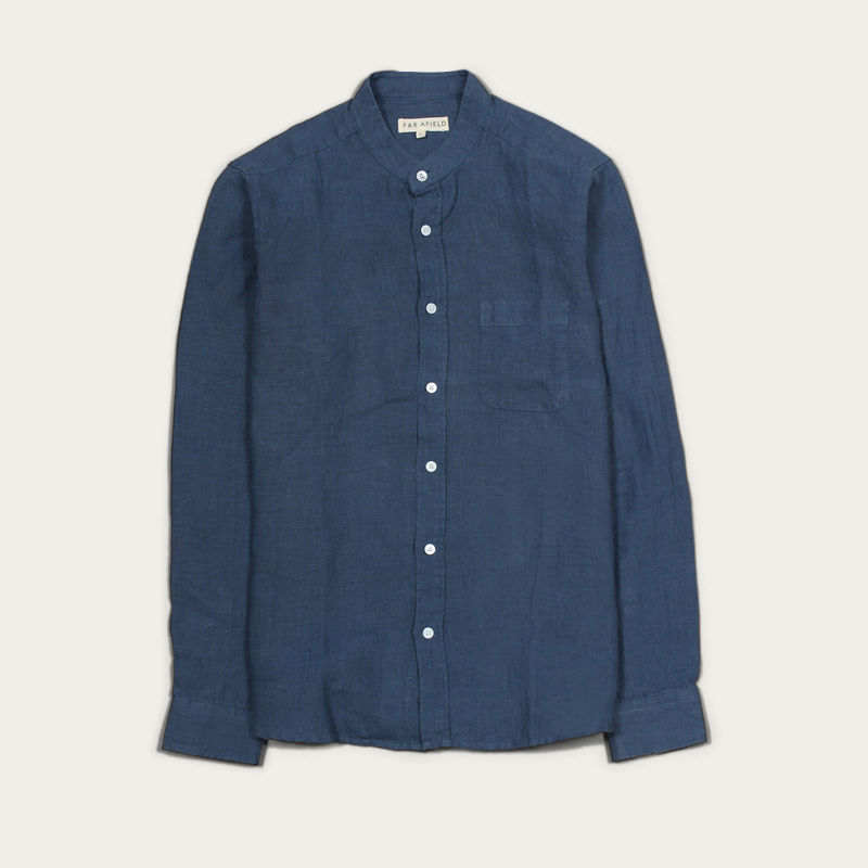 Ensign Blue Linen Twombly L/S Shirt  | Bombinate