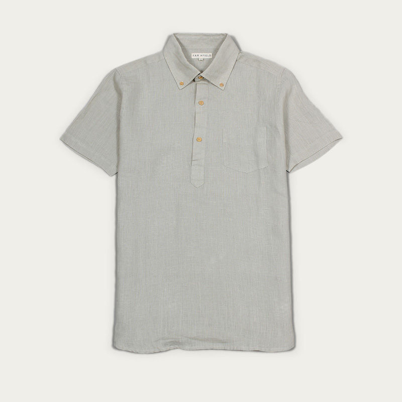 Agate Grey Linen Ivy S/S Shirt  | Bombinate