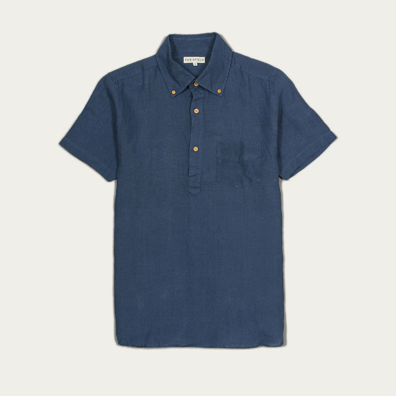 Ensign Blue Linen Ivy S/S Shirt  | Bombinate