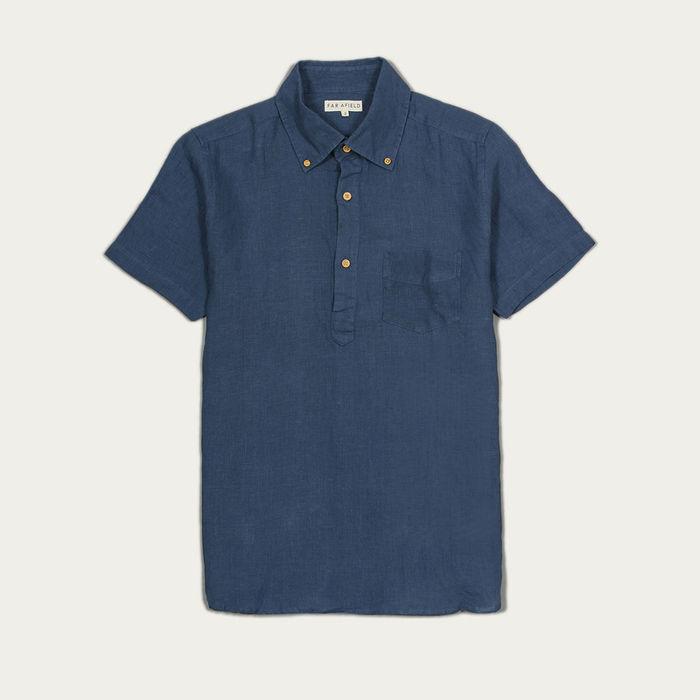 Ensign Blue Linen Ivy S/S Shirt  | Bombinate