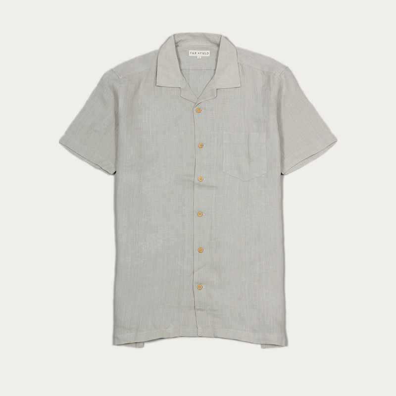 Agate Grey Linen Stachio S/S Shirt  | Bombinate