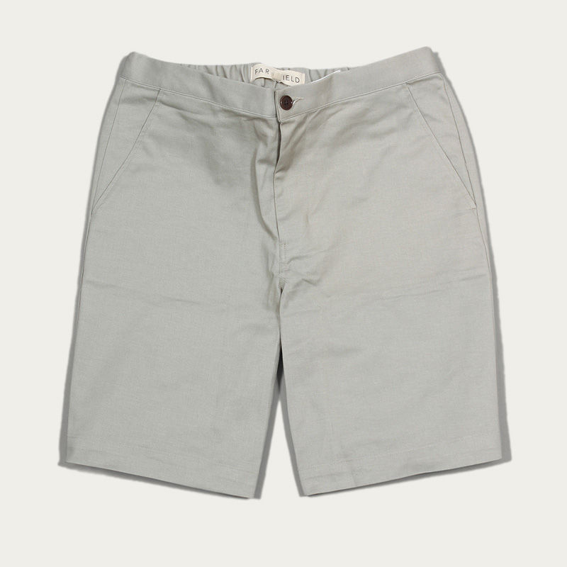 Agate Grey Cotton Twill Drawstring Shorts  | Bombinate