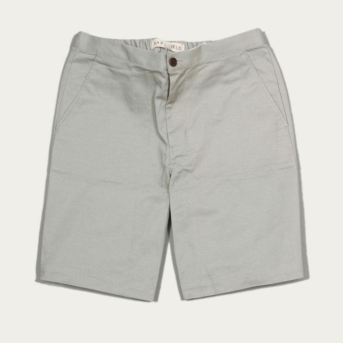 Agate Grey Cotton Twill Drawstring Shorts  | Bombinate
