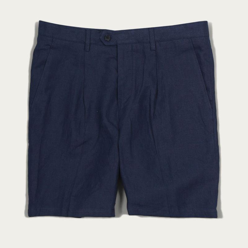 Blue Linen Pleat Shorts  | Bombinate