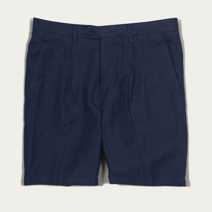 Blue Linen Pleat Shorts    Bombinate