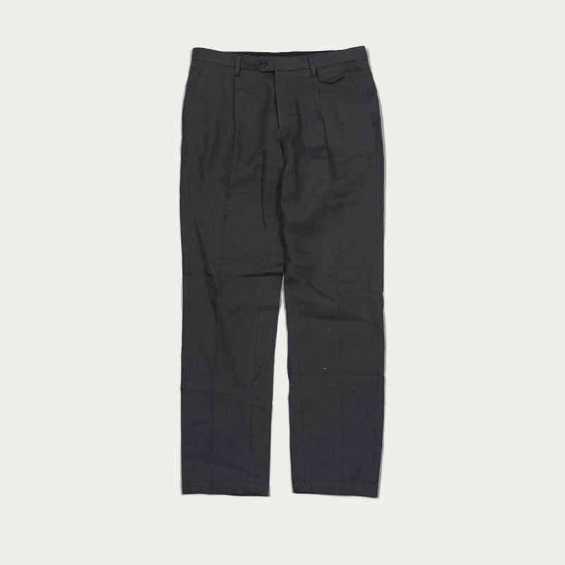 Grey Linen Pleat Trousers  | Bombinate