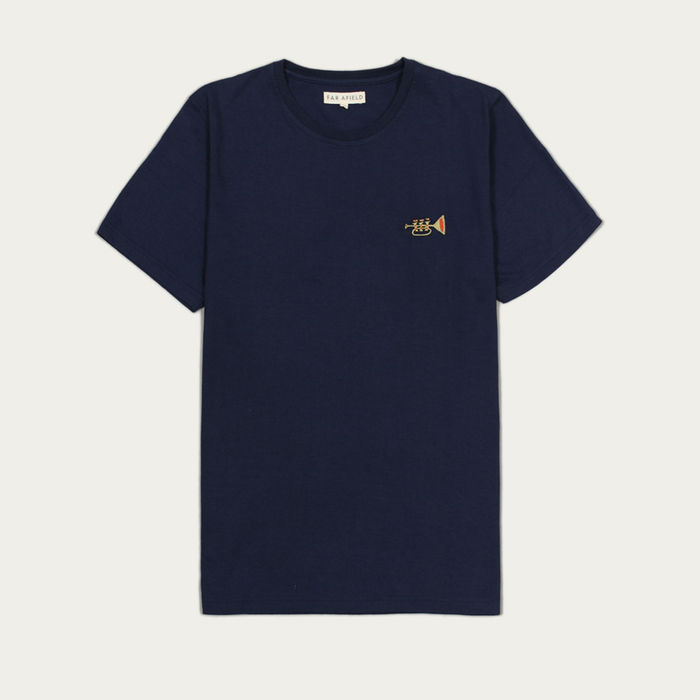 Trumpet Blue Embroidered T-Shirt  | Bombinate
