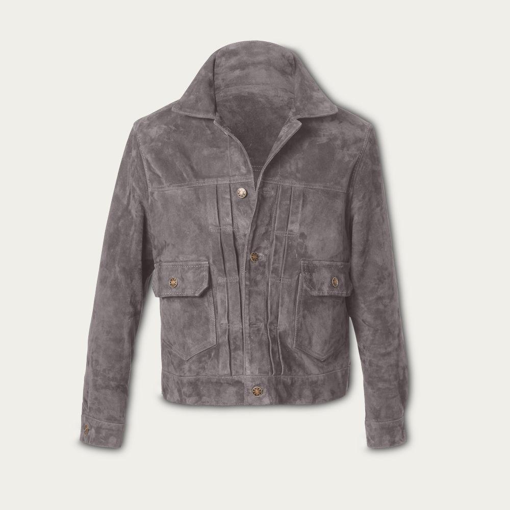 Grey Presley Trucker Suede Jacket MTO | Bombinate