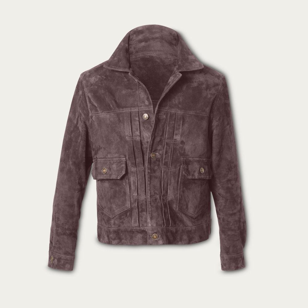 Taupe Presley Trucker Suede Jacket MTO | Bombinate