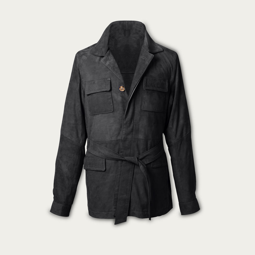 Charcoal Rakish Belted Suede Safari Jacket MTO | Bombinate