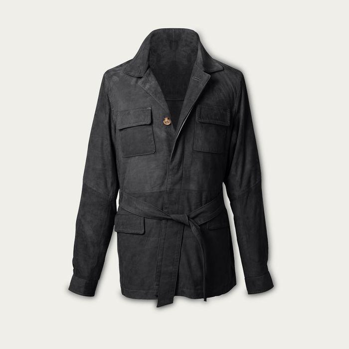 Charcoal Rakish Belted Suede Safari Jacket MTO | Bombinate