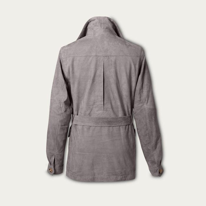 Grey Rakish Belted Suede Safari Jacket MTO | Bombinate