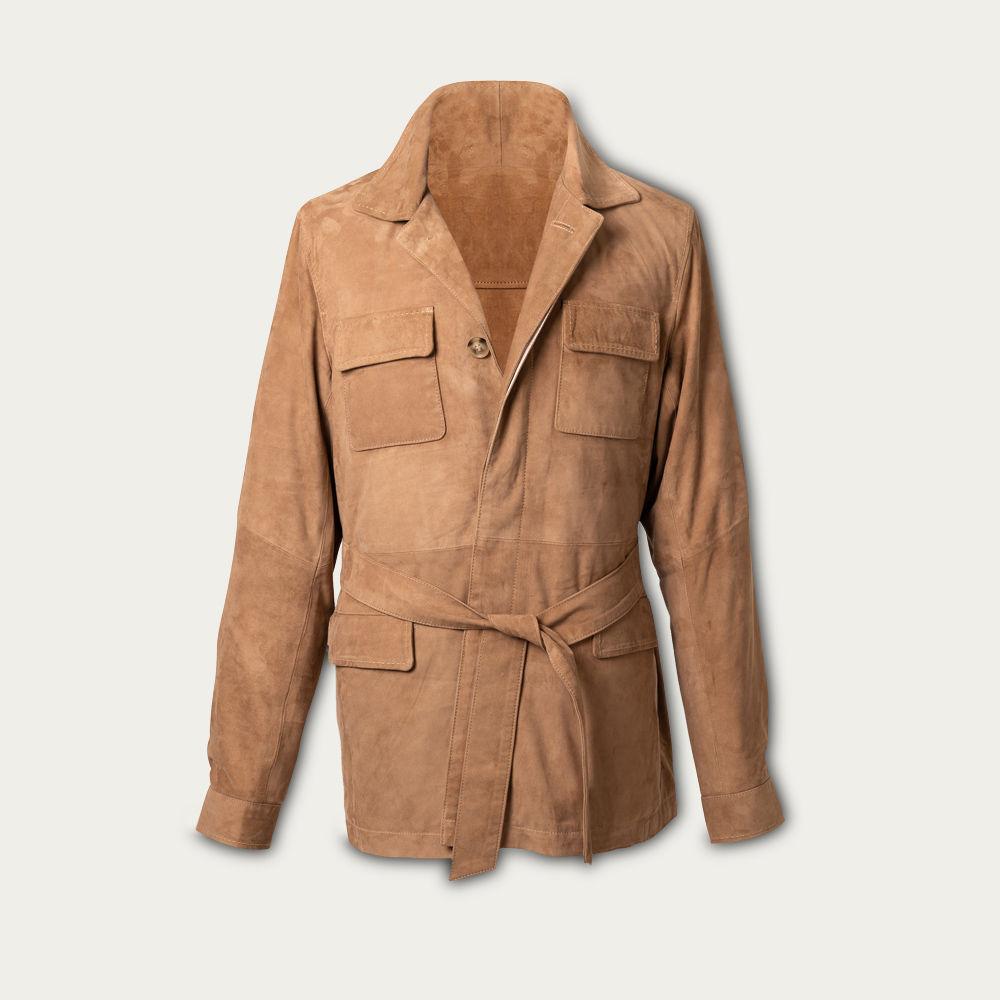 Snuff Rakish Belted Suede Safari Jacket MTO | Bombinate