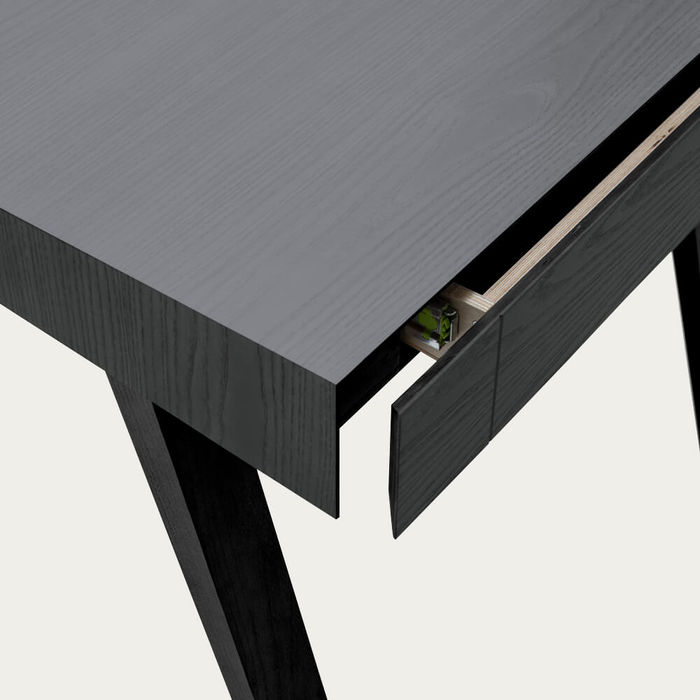 Lithuanian Ash Painted Black 2 Drawers 4.9 Desk | Bombinate