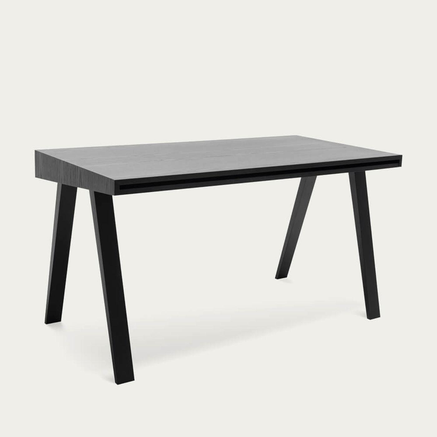 Lithuanian Ash Painted Black 2 Drawers 4.9 Desk | Bombinate