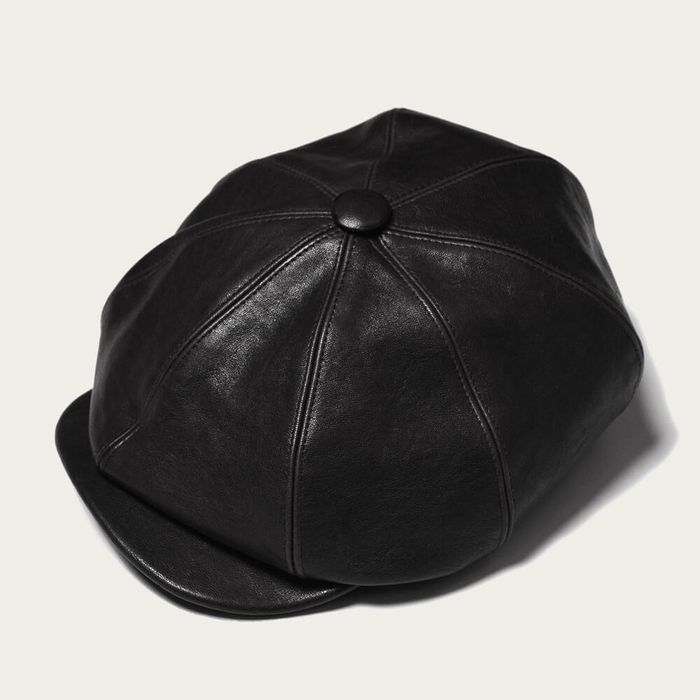 Black Outlaw Leather 8 Panel Riders Cap | Bombinate
