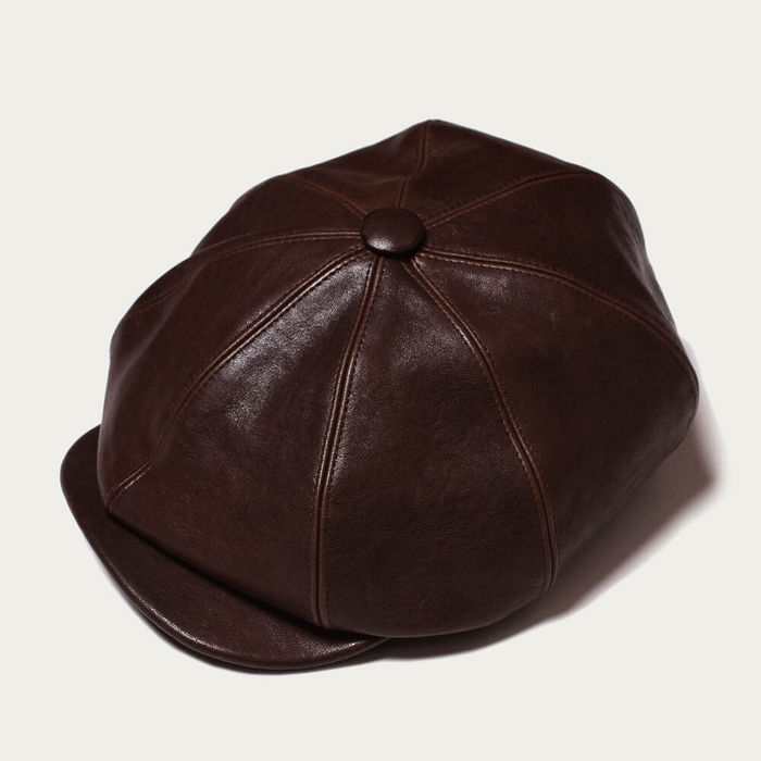 Brown Outlaw Leather 8 Panel Riders Cap | Bombinate