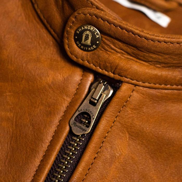 Cognac Café Racer Nubuck Leather Jacket | Bombinate
