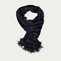 Black Patterned Velvet & Silk Scarf | Bombinate