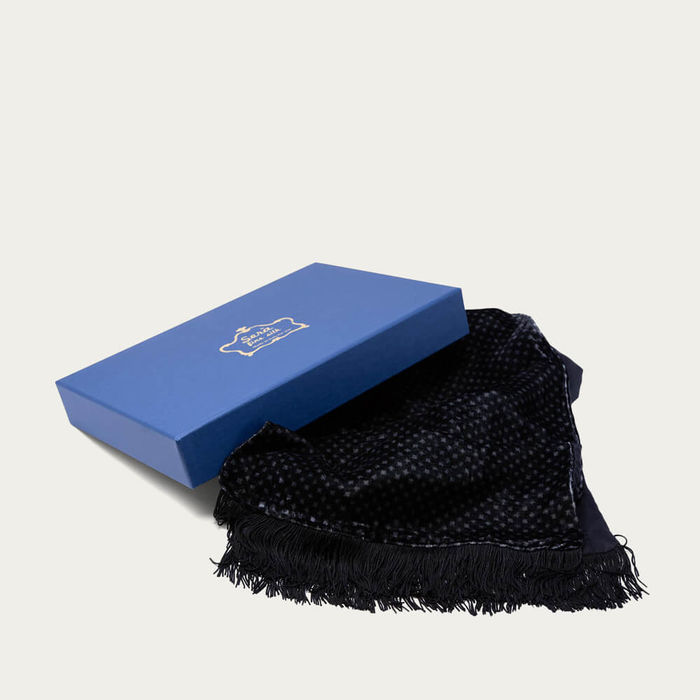 Black Patterned Velvet & Silk Scarf   Bombinate